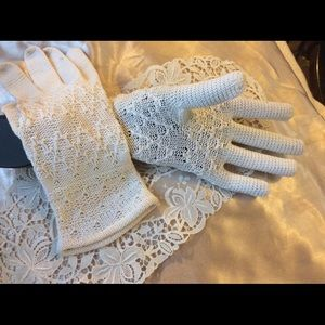 Vintage 1920 Above Wrist Hand Crochet Gloves 6-7